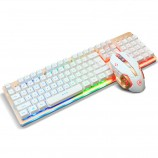 A-JAZZ Gold Rhino Mechanical Feel Gaming Wired Keyboard Mouse Set LOL