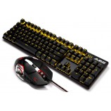 A-JAZZ Steam Punk Mechanical Keyboard Mouse Set Wired Gaming Computer LOL