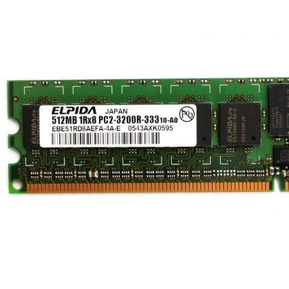 Elpida Ram Memory Capacity 512MB PC2 3200R DDR2 ECC EBE51RD8ABFA-4A-E