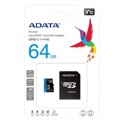 ADATA 64GB Premier microSDXC UHS-I Class 10 V10 A1 SD Adapter Speed Up 100MB/s