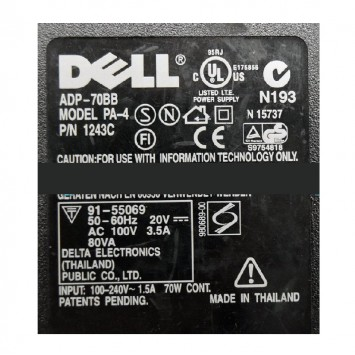 Dell PA-4 Family 70 Watt Laptop Power Adapter Charger ADP-70BB 001243C