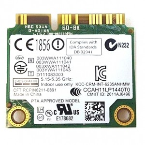 Dell Intel Centrino Advanced-N 6235 Wireless WiFi 802.11 plus BlueTooth Mini-PCI Express Card 5K9GJ